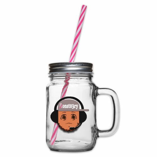 Dons logo - Glass jar with handle and screw cap