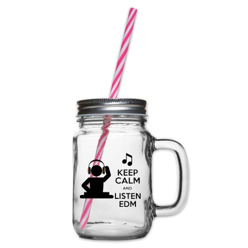 keep calm and listen edm - Glass jar with handle and screw cap