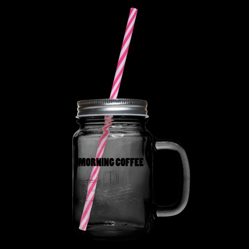 Morning Coffee - Glass jar with handle and screw cap