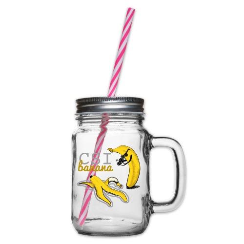 Bananen Kriminalität Hyäne - Henkelglas mit Schraubdeckel