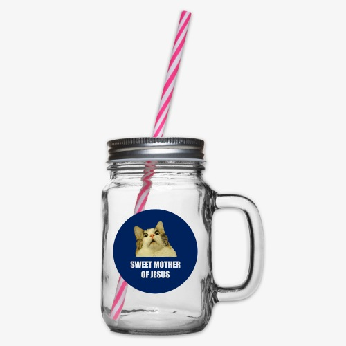 SWEETMOTHEROFJESUS - Glass jar with handle and screw cap