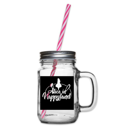 Alice in Nappyland TypographyWhite 1080 - Glass jar with handle and screw cap