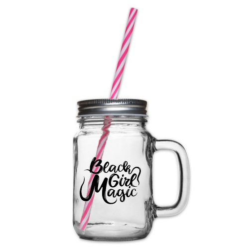 Black Girl Magic 1 Black Text - Glass jar with handle and screw cap