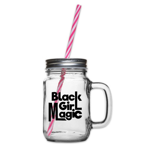 Black Girl Magic 2 Black Text - Glass jar with handle and screw cap