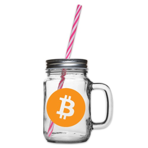 Bitcoin - Glass jar with handle and screw cap