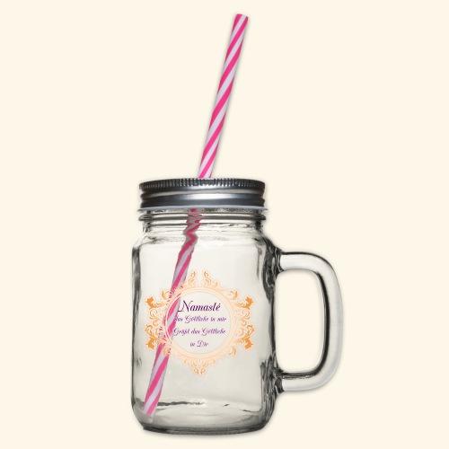 Namasté - Henkelglas mit Schraubdeckel