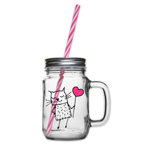Katze mit Herz: Liebe - Henkelglas mit Schraubdeckel