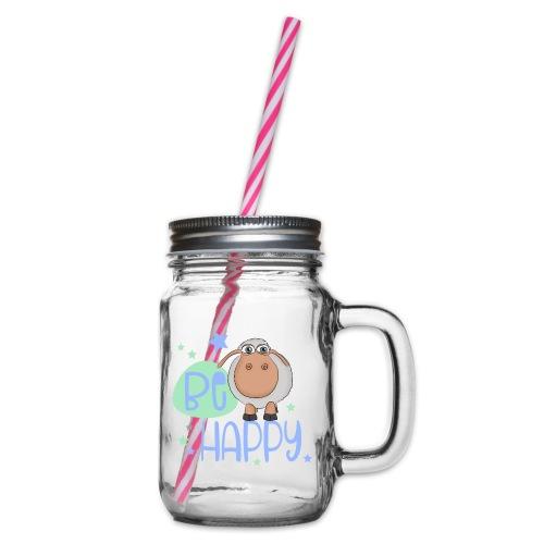 Be happy Schaf - Glückliches Schaf - Glücksschaf - Henkelglas mit Schraubdeckel