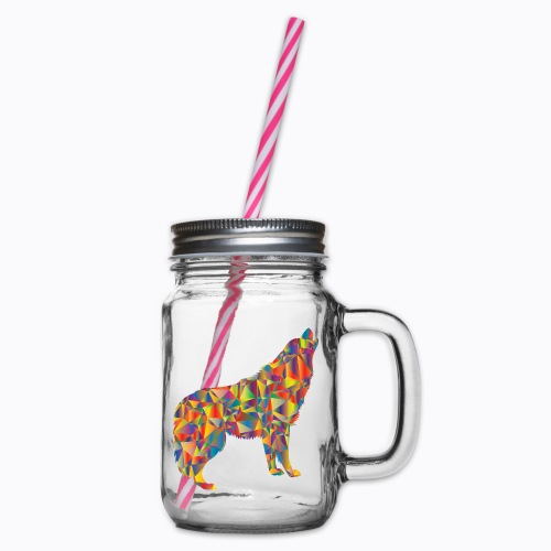 howling colorful - Glass jar with handle and screw cap