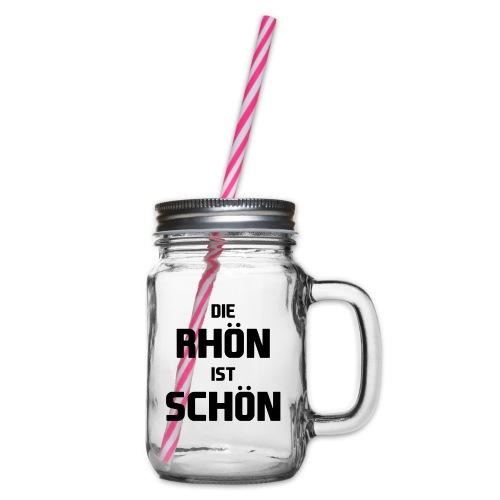 Die Rhön ist Schön! (Schwarz) - Henkelglas mit Schraubdeckel