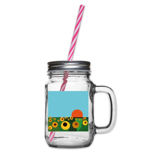 Sunflower - Glass jar with handle and screw cap
