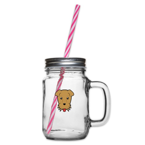 Shari the Airedale Terrier - Glass jar with handle and screw cap