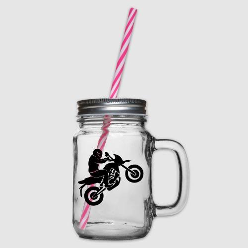 Motorradfahrer - Henkelglas mit Schraubdeckel