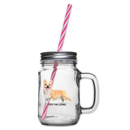 Topi the Corgi - Black text - Glass jar with handle and screw cap
