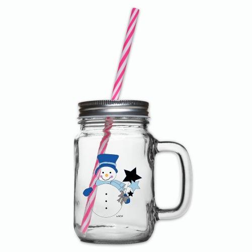 Snowtime-Blue - Henkelglas mit Schraubdeckel
