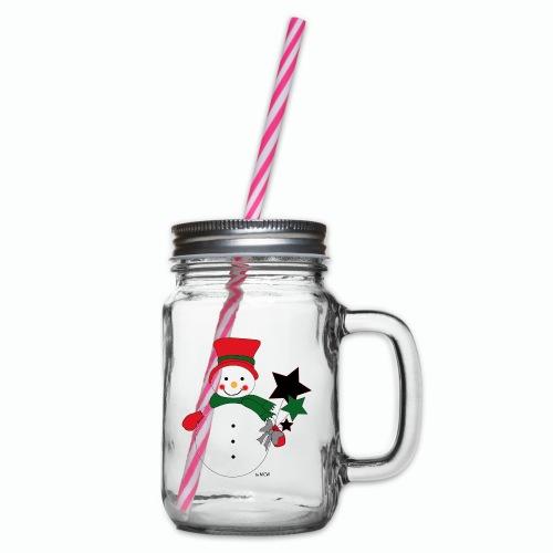 Snowtime-Red - Henkelglas mit Schraubdeckel