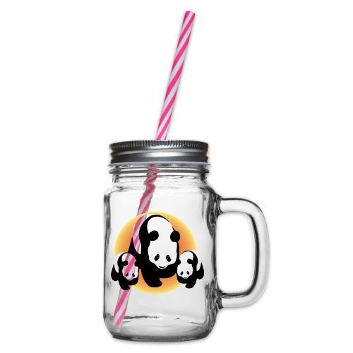 Chineese Panda's - Drinkbeker met handvat en schroefdeksel