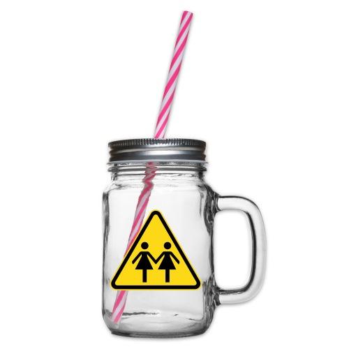 ACHTUNG LESBEN POWER! Motiv für lesbische Frauen - Henkelglas mit Schraubdeckel