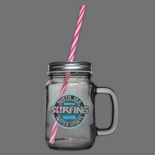 North Sea Surfing (oldstyle) - Glass jar with handle and screw cap