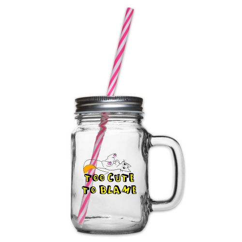 Too Cute To Blame - Glass jar with handle and screw cap