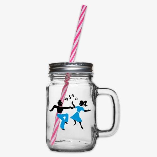 retro dance jive patjila - Glass jar with handle and screw cap