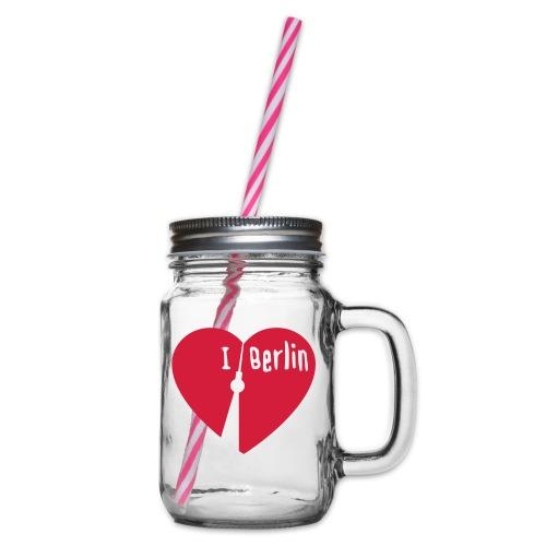 I love Berlin (1-farbig) - Henkelglas mit Schraubdeckel