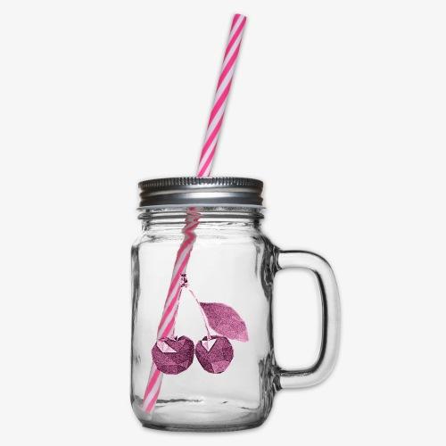 Wiśnie - Słoik do picia z pokrywką