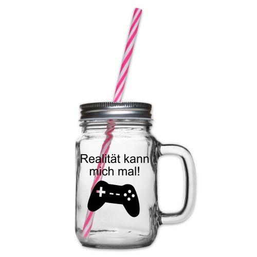 Zocker Gamer Realität Gaming Spruch - Henkelglas mit Schraubdeckel