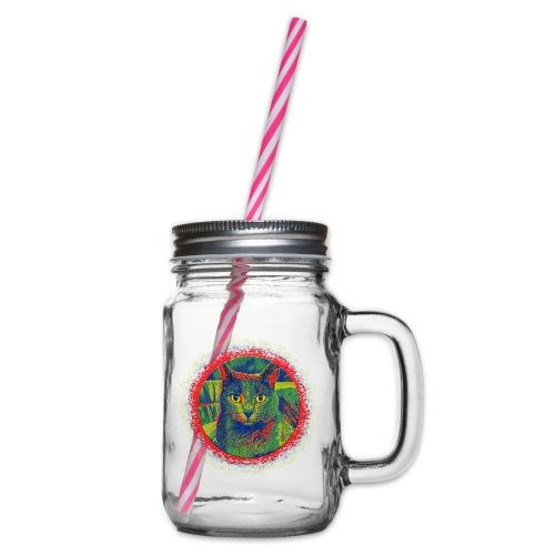 CAT ART AMERA - Henkelglas mit Schraubdeckel