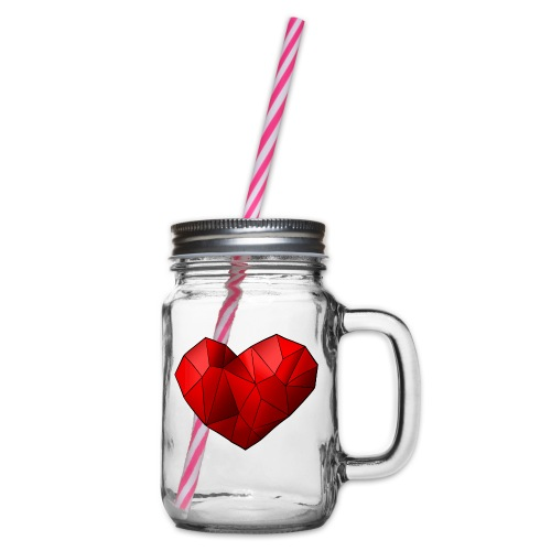 Heartart - Glass jar with handle and screw cap