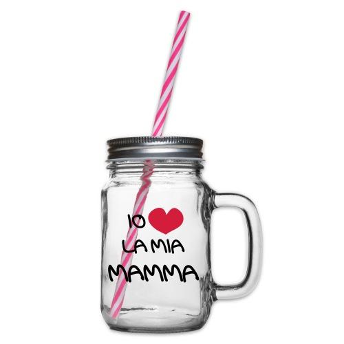 Io Amo La Mia Mamma - Boccale con coperchio avvitabile
