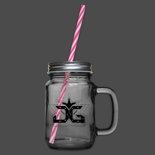 LOGO OUTLINE SMALL - Glass jar with handle and screw cap