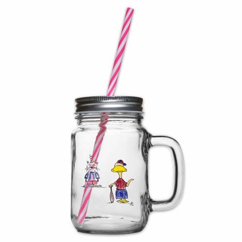 Cartoon Baseball - Henkelglas mit Schraubdeckel