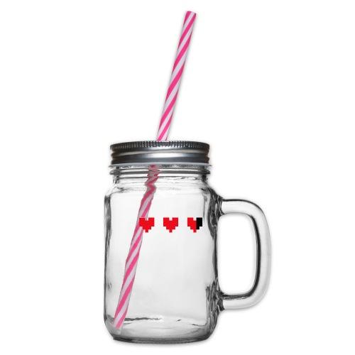 I pixelhearts you - Drinkbeker met handvat en schroefdeksel