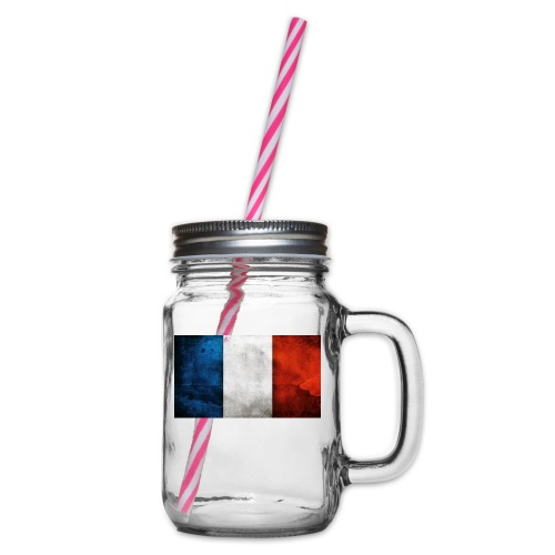 France Flag - Glass jar with handle and screw cap