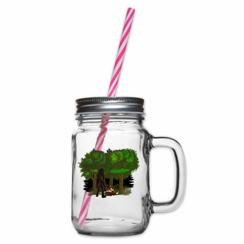 Bigfoot Campfire Forest - Glass jar with handle and screw cap
