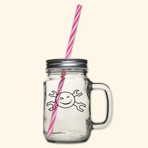 logo_atp_black - Glass jar with handle and screw cap