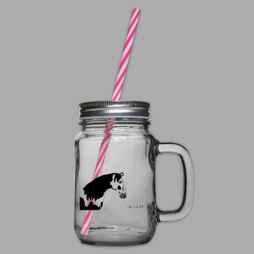 Pferdekopf mit Unterschrift - Henkelglas mit Schraubdeckel
