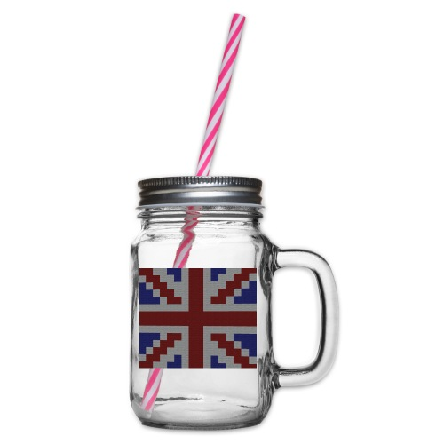 Union Jack flag - Glass jar with handle and screw cap