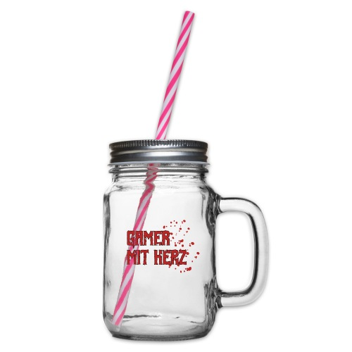 Gamer with heart - Glass jar with handle and screw cap