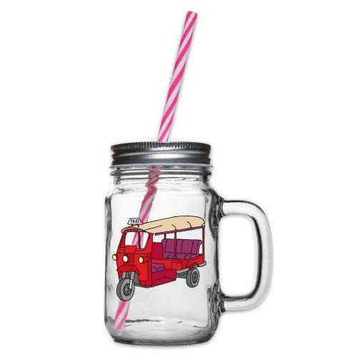 Rote Autorikscha, Tuk-tuk - Henkelglas mit Schraubdeckel