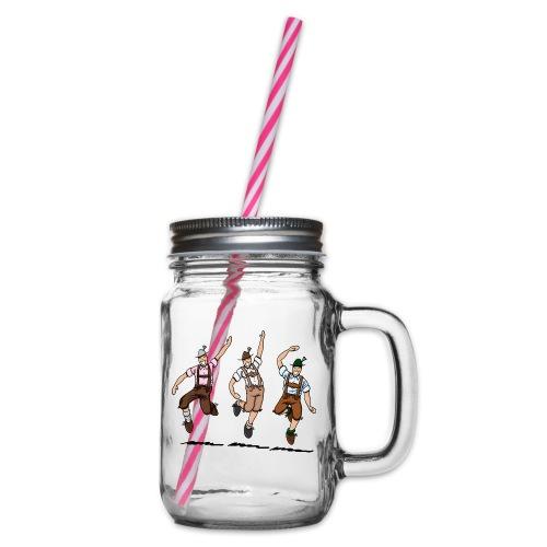 Three Dancing Oktoberfest Lederhosen Men - Henkelglas mit Schraubdeckel