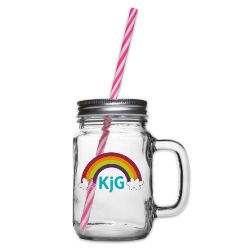Regenbogen - Henkelglas mit Schraubdeckel