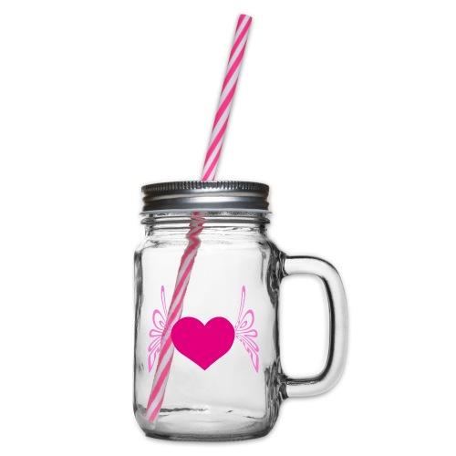 Schmetterling Herz Rosa,Geschenk - Henkelglas mit Schraubdeckel