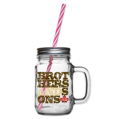 Brothers and Sons logo - dark design - Glass jar with handle and screw cap