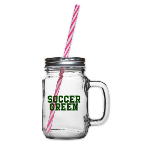 Soccer Green Style Text - Boccale con coperchio avvitabile