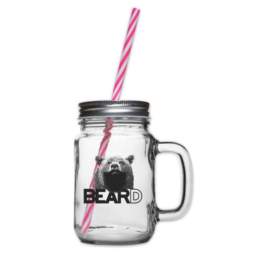 Bear and beard - Glass jar with handle and screw cap