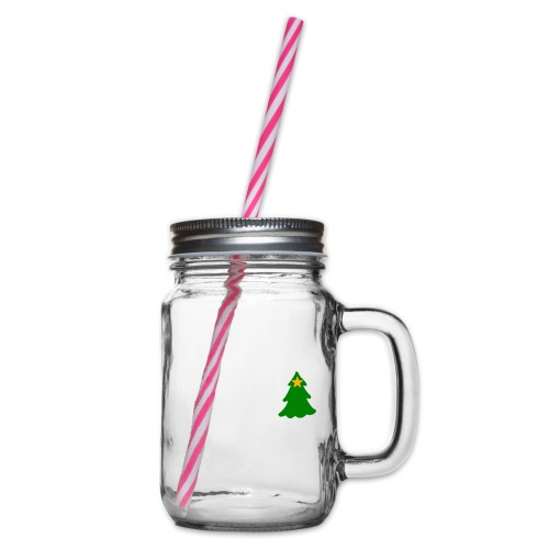White Christmas - Glass jar with handle and screw cap