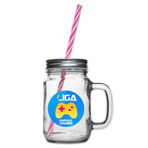 Liberale Gamer Wappen - Henkelglas mit Schraubdeckel