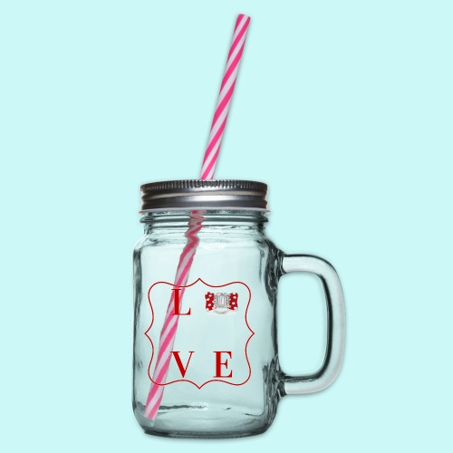 love - Glass jar with handle and screw cap